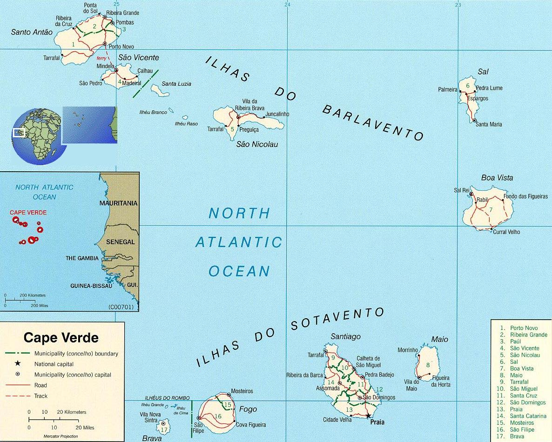 Cape Verde Map - Travel Africa, Capital Praia Tourist Guide on