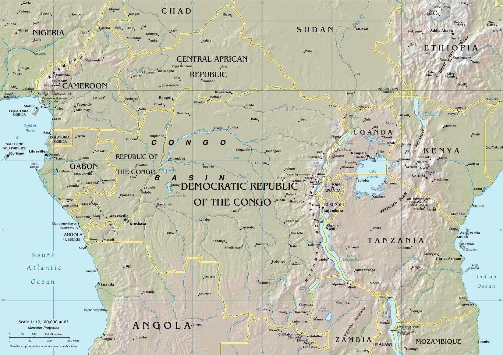Central Africa Physical Map Lake Victoria Kenya - Central africa map