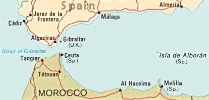 Spain And Africa Map.Ceuta And Melilla Map Spain Africa