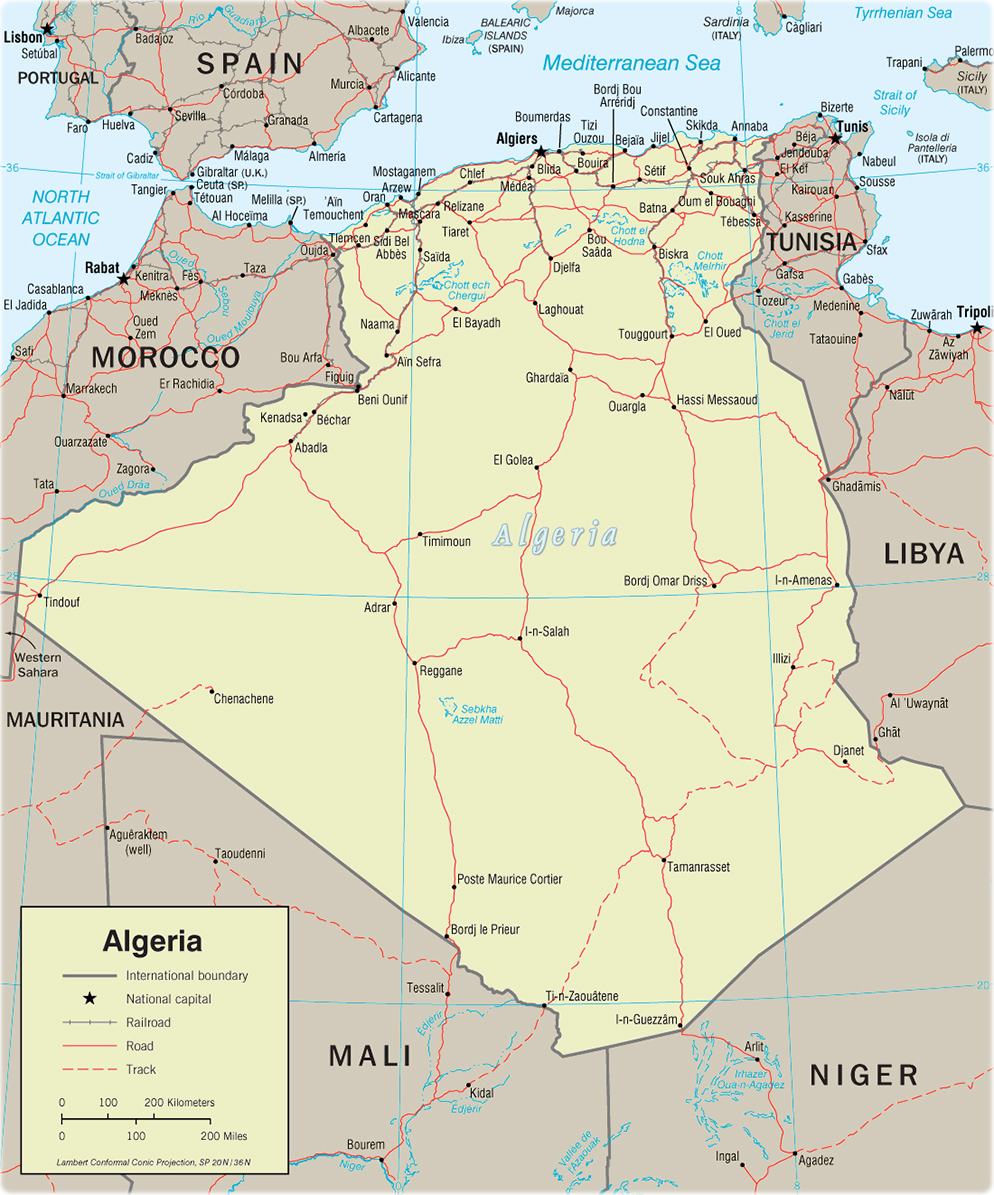 Political Map Of Algeria Africa Travel