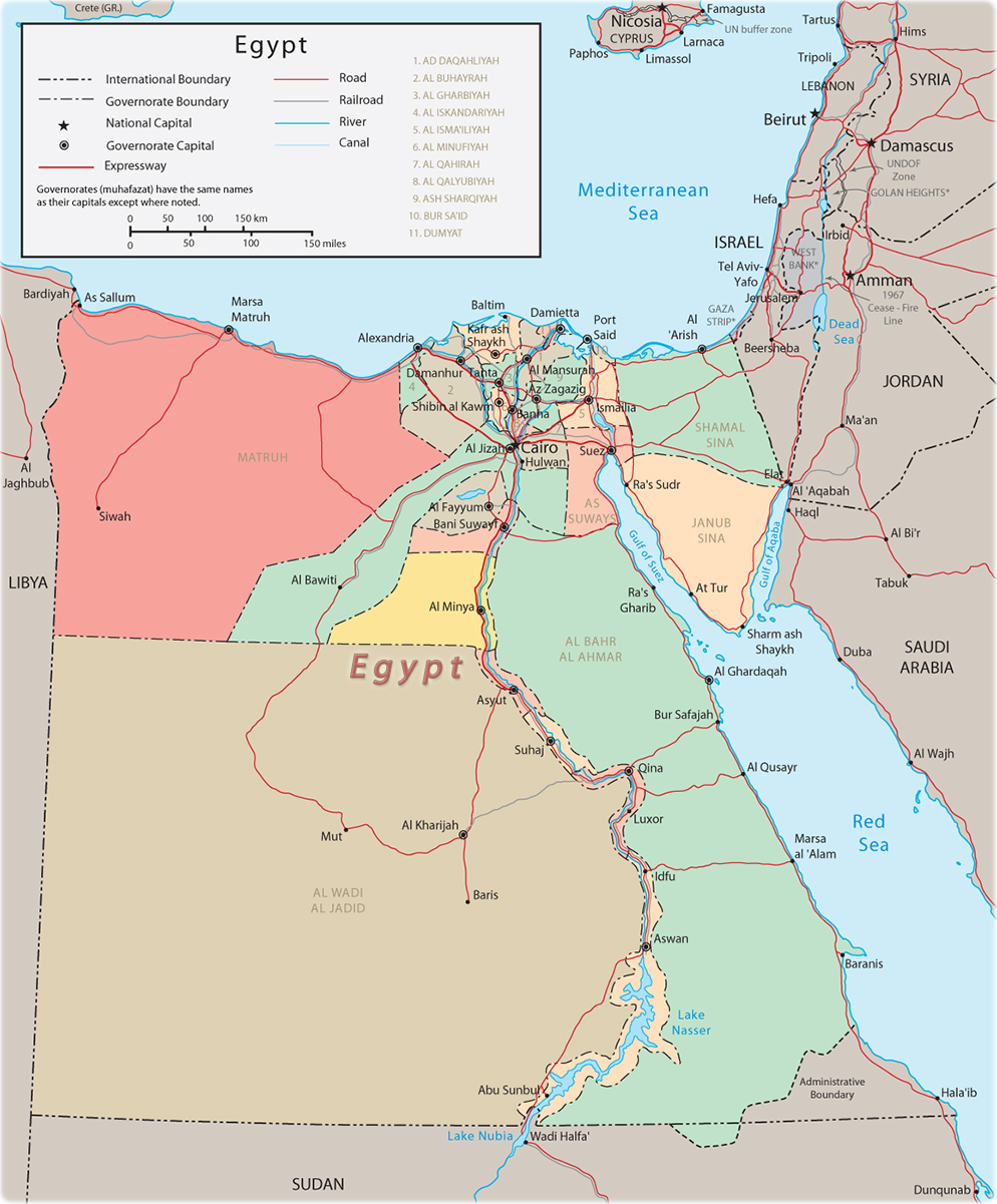 Egypt Map Africa - Cairo, Nile River and Suez C on