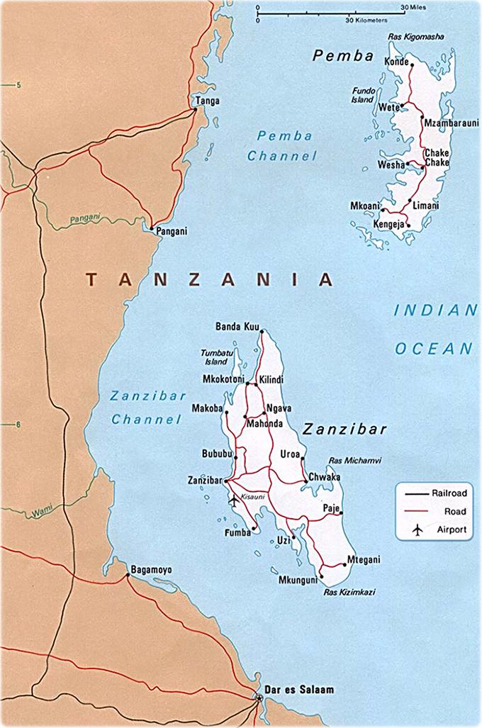 Map Of Africa Zanzibar.Map Of Zanzibar Tanzania