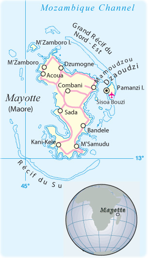 Mayotte Map Island French Territory