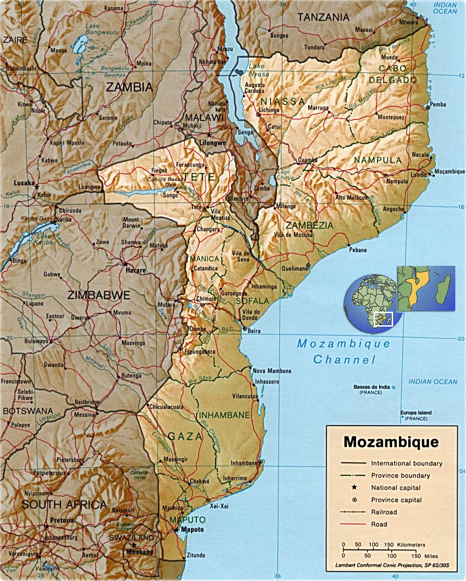 Mozambique map africa flag capital city rivers and roads political map africa moambique shaded relief gumiabroncs Images