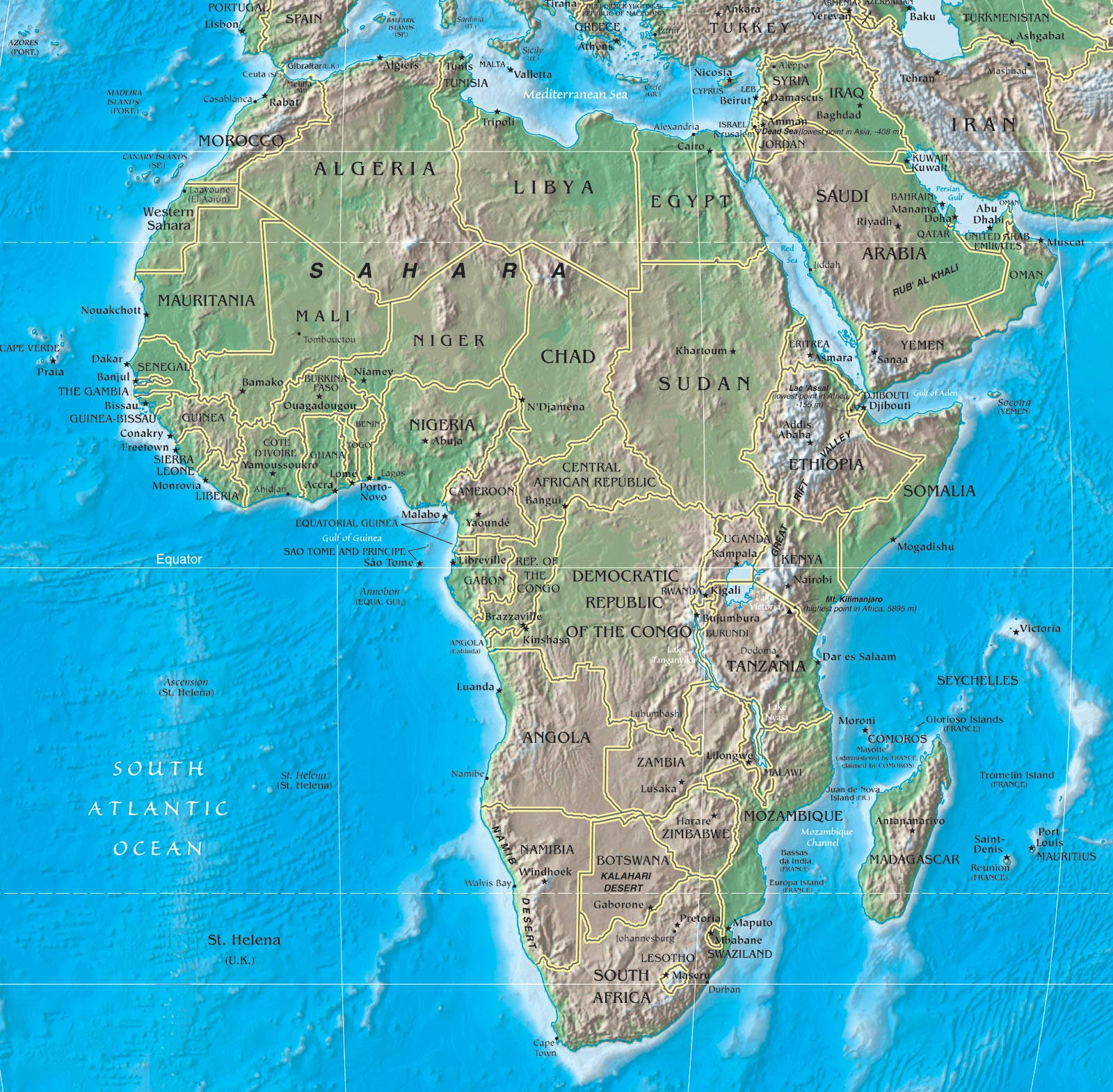 Physical map of africa rivers terrain forests and countries africa map gumiabroncs Gallery