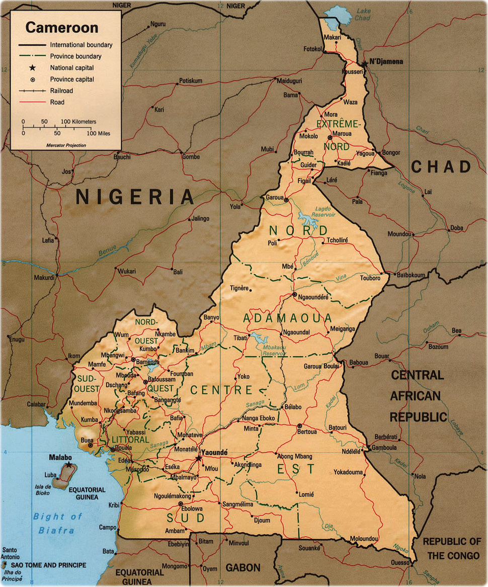 Cameroon Map Africa Capital Rivers and Lakes