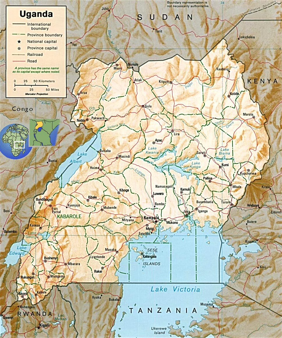 Map Of Africa Lake Victoria.Tourist Guide Uganda Map Capital Campala Lake Victoria Travel Africa