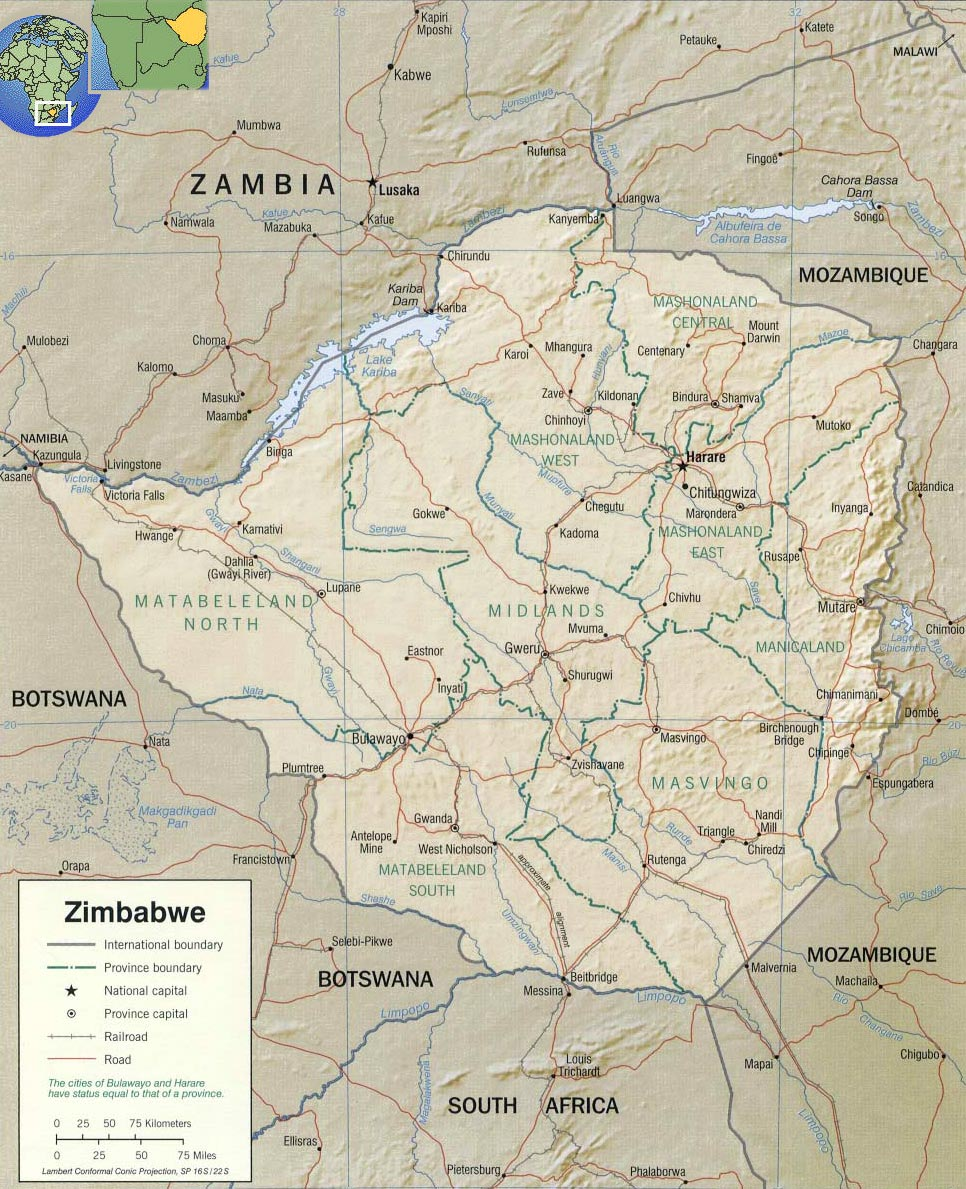 Map Of Africa Showing Zimbabwe.Tourist Guide Zimbabwe Map Africa Capital Harare