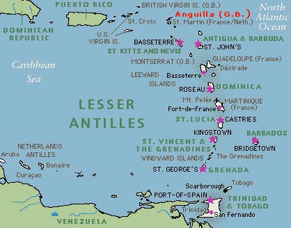 Anguilla Map Caribbean Sea The Valley