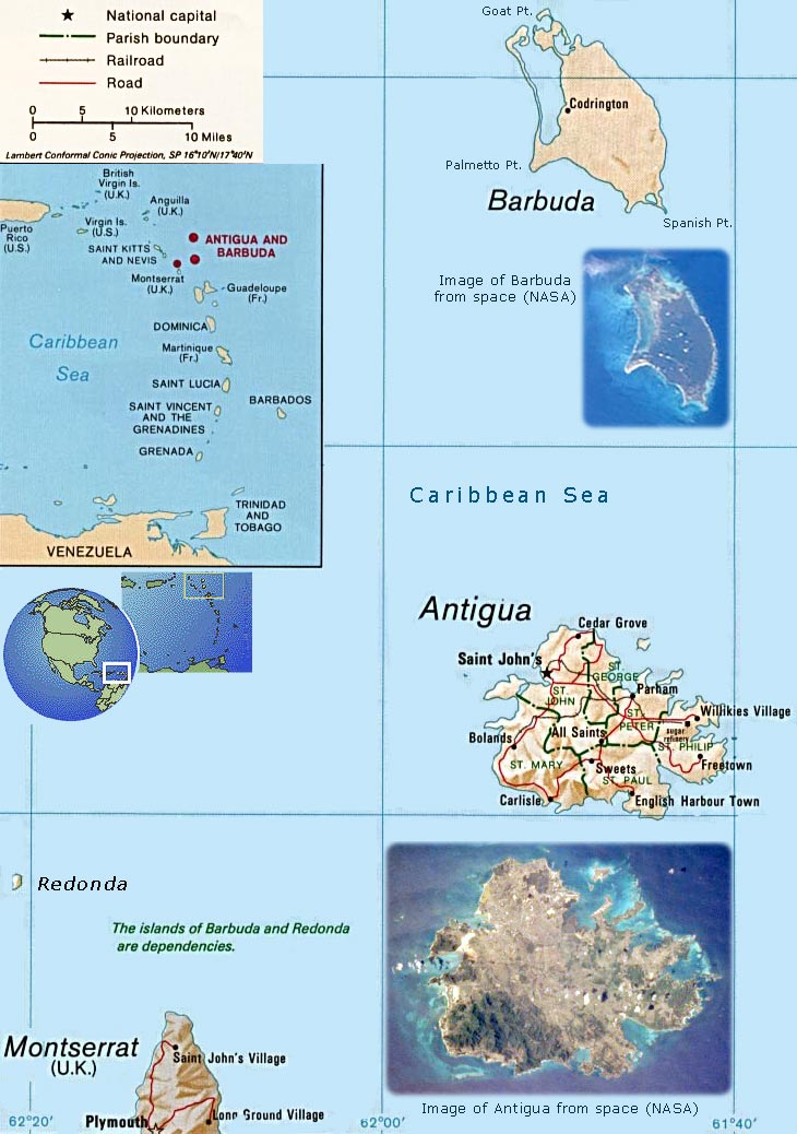 Antigua, Barbuda Map