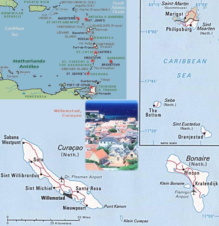 Netherlands Antilles Map Caribbean Sea Willemstad Curaao