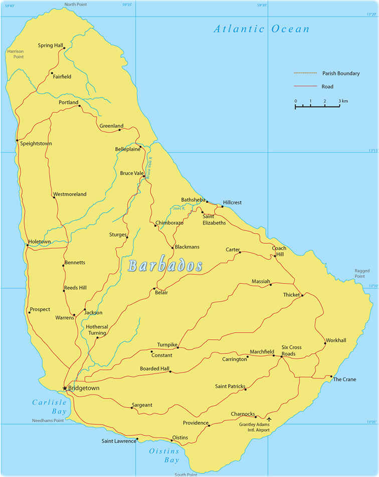 Barbados Map, Bridgetown
