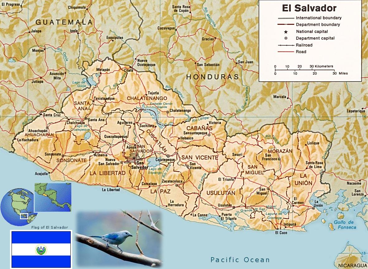 El Salvador Map San Salvador
