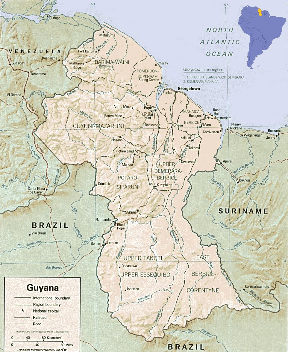 Guyana map georgetown south america image world in pictures guyana flag guyana map gumiabroncs Image collections