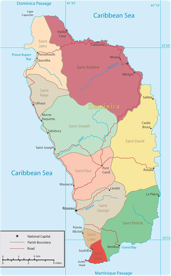 Dominica Map Portsmouth Roseau - Map of dominica caribbean sea