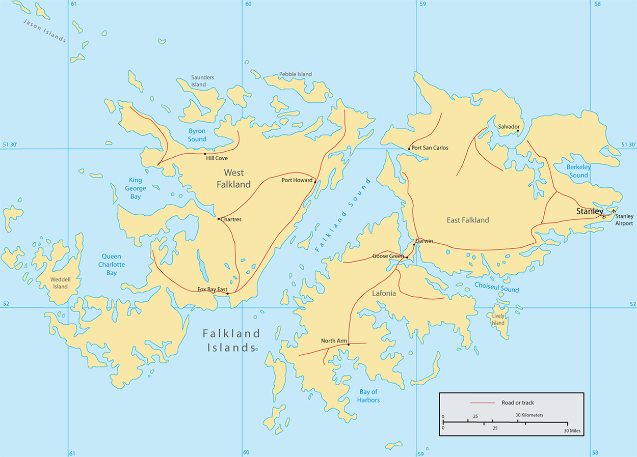Falkland Islands Map Islas Malvinas