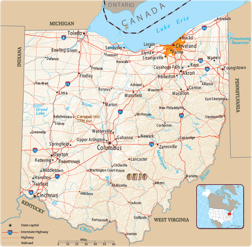 Map Of Ohio State Of U S