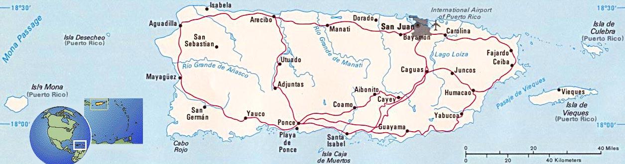 Puerto Rico Map San Juan