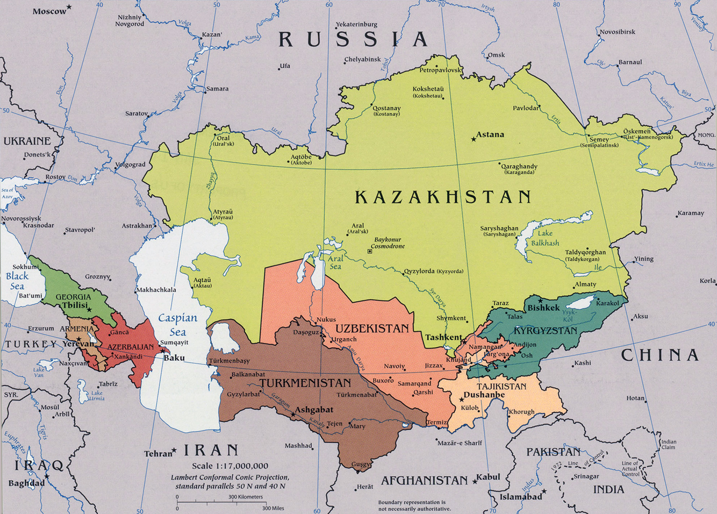 Caucasus and Central Asia Map