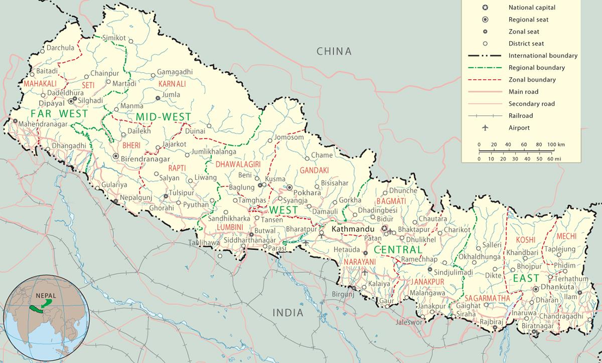 Nepal Map - Kathmandu, Everest