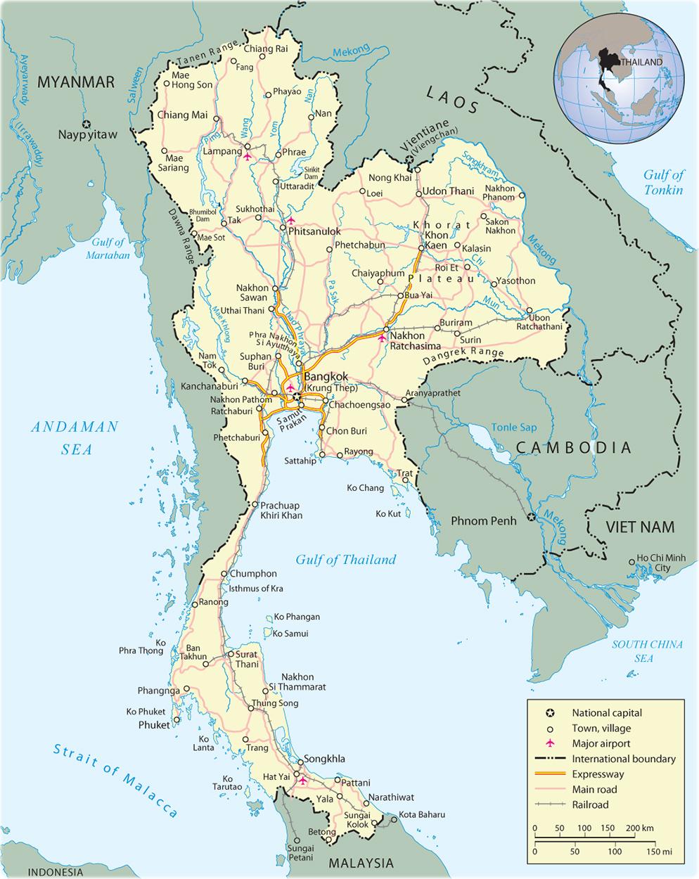 Thailand Map, Bangkok