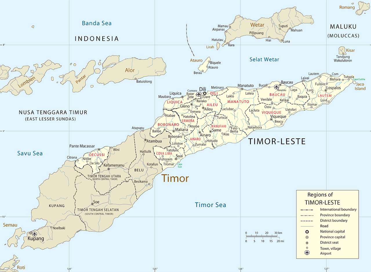 Timor Island Map Dili East Timor