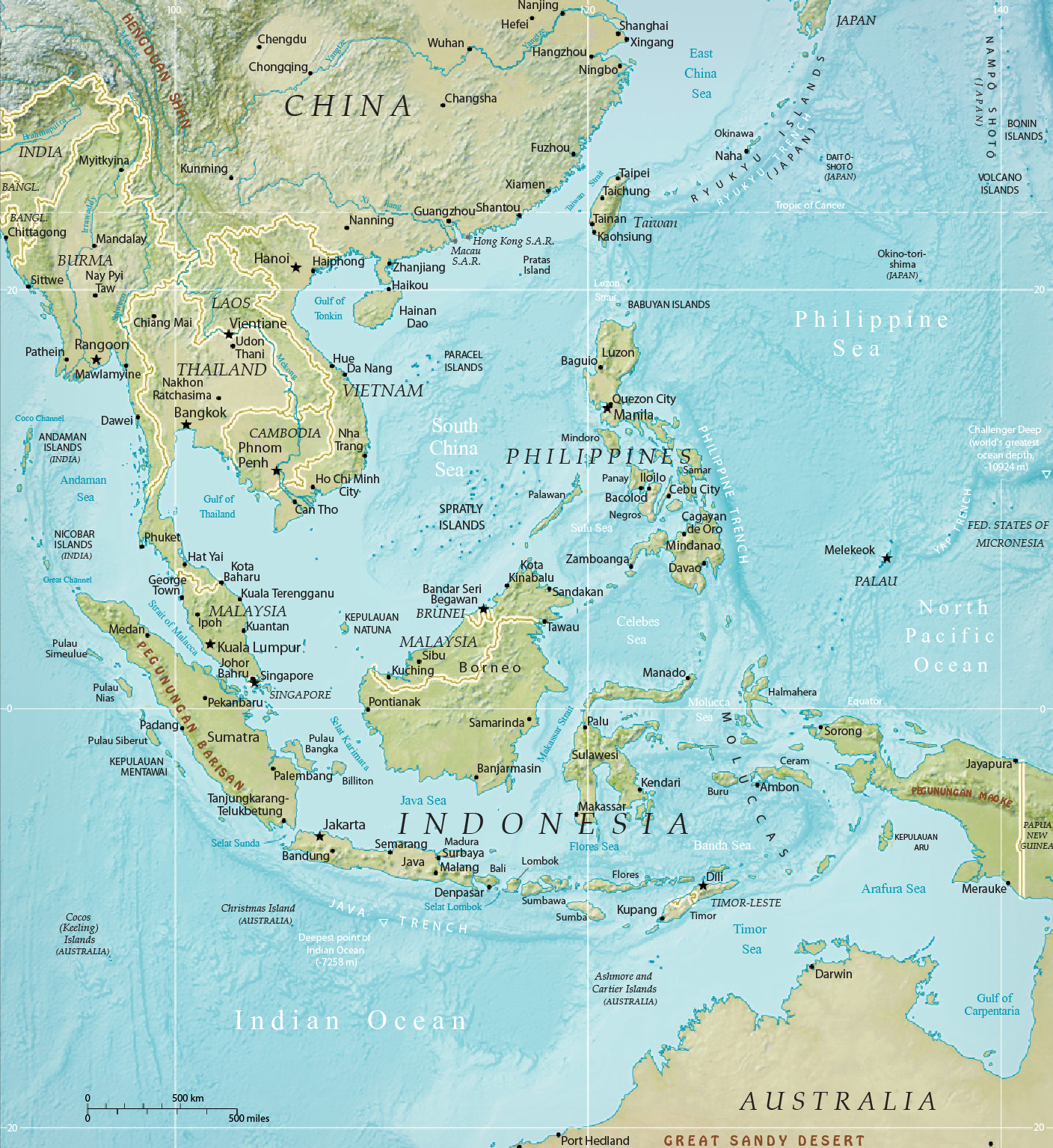 Southeast Physical Asia Map - Indonesia, Malaysia, Thailand