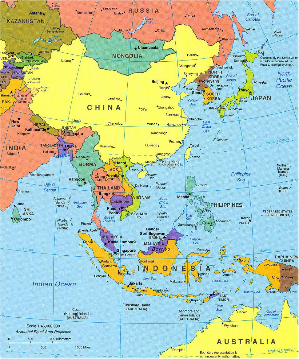 World Southeast Asia political map