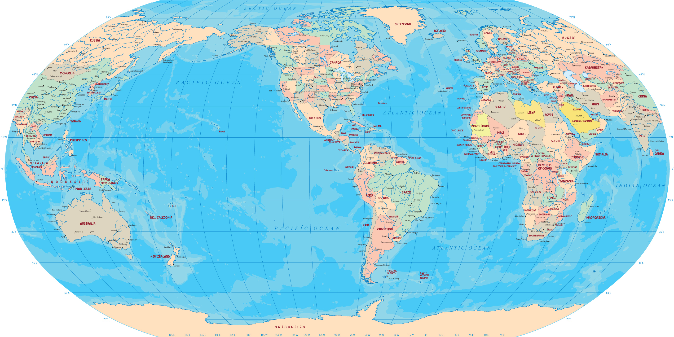 World map robinson projection robinson world gumiabroncs Image collections