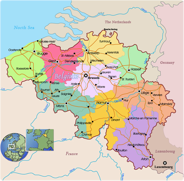 belgium political map europe travel