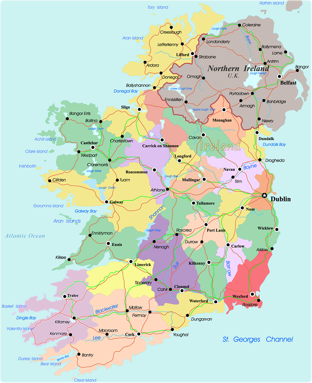 Map Of Ireland Showing Athlone.Map Ireland