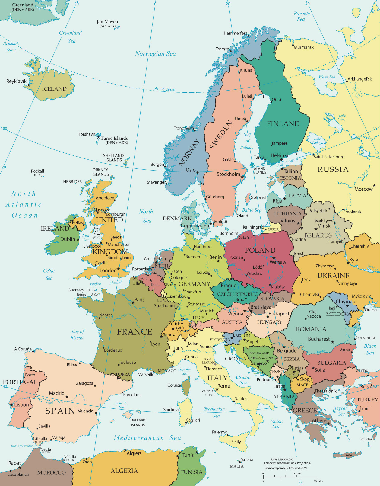 Political Map of Europe   Countries