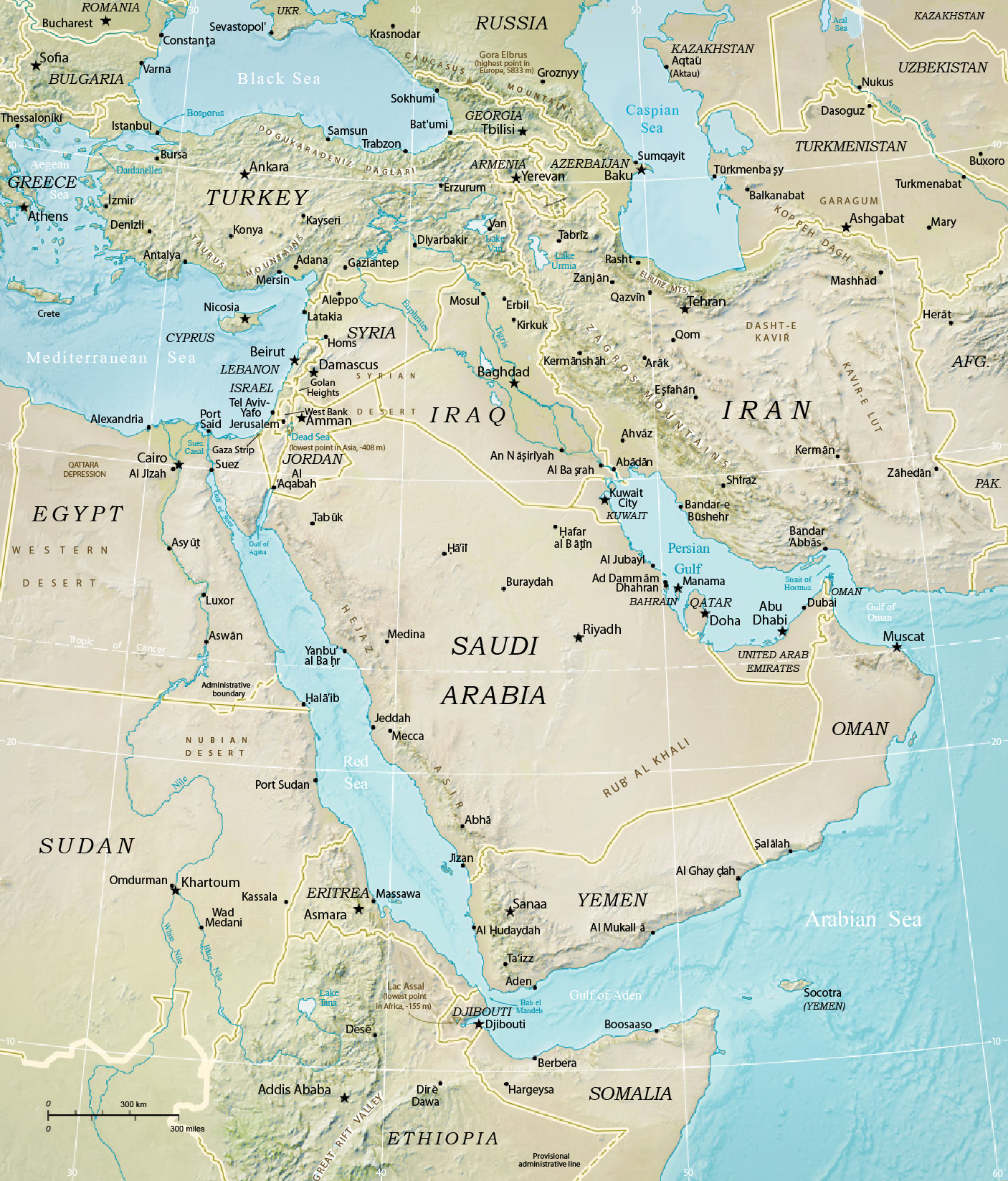 Middle East Map, Turkey, Iran, Iraq