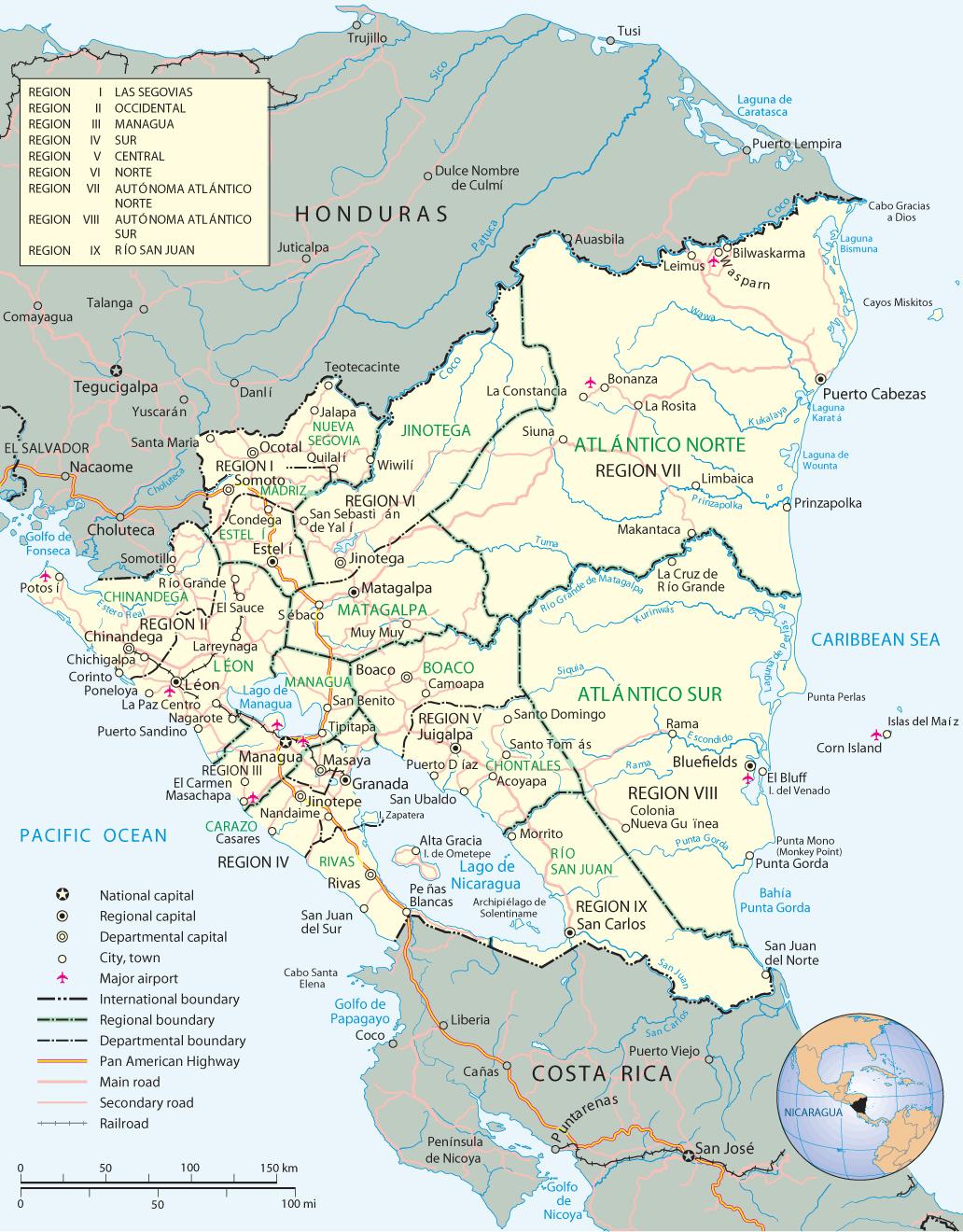 Nicaragua Map, Managua