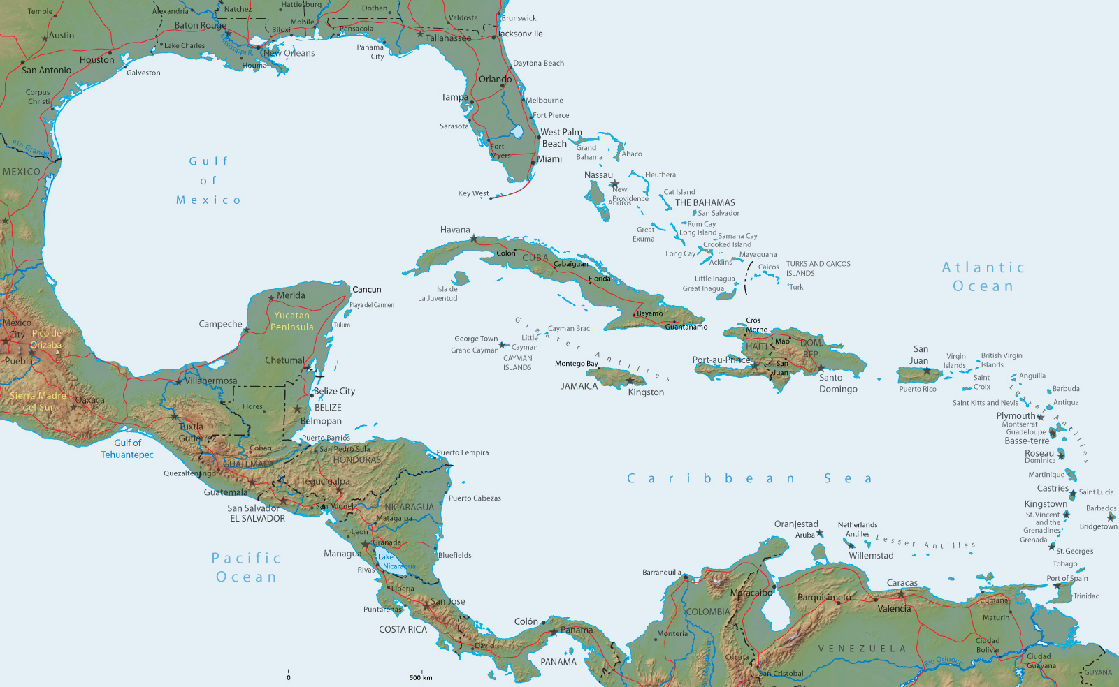 Physical Map of Central America and The Caribbean