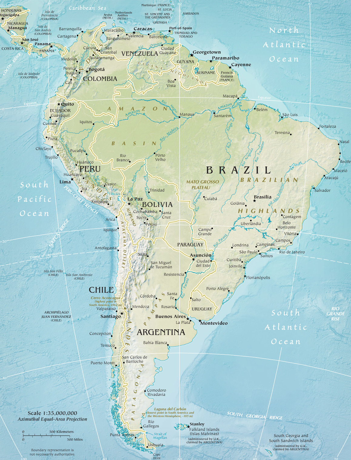 Map Of South America Continent And Countries Brazil Argentina - S america map